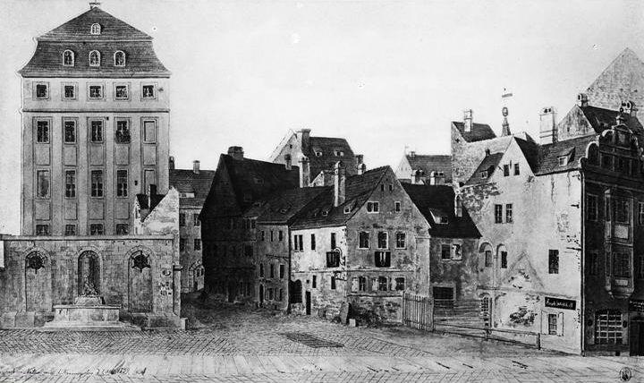 Die Sophienstraße mit Stadtwaldschlösschen um 1839